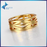 JYSZR0307 Cubic Zirconia Gems 18K Gold Plated Alloy Ring