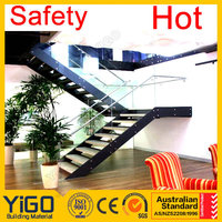 double stringer mild steel glass railing stair/staircase for sale