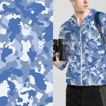 Fashion custom design digital printed blue camouflage polyester print fabric