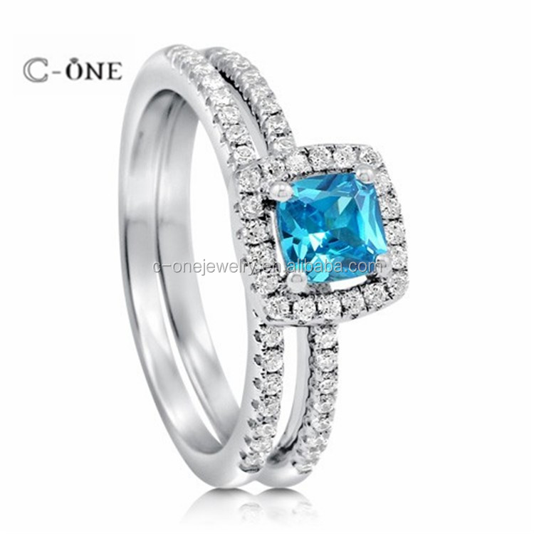 925 sterling silver CZ aquamarine rings