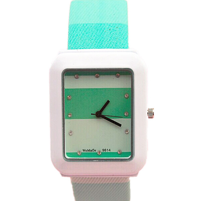high quality womage brand square shape candy colors plastic band square shape crystal number girls fashion quartz watch