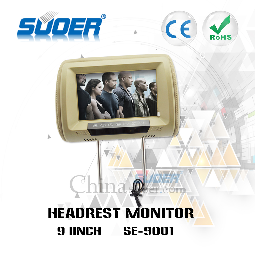 Suoer 9 inch digital screen hd bus video player car headrest monitor car seat tv