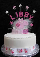 Personalised Pink Pig With Diamante Age Second Birthday Cake Topper