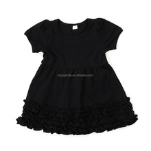 2017 boutique children's wear clothing cotton knitted girls ruffle dresses