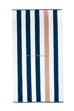 China supplier and wholse towels100% Cotton Plush Cabana stripe (blue ,white and brown)Beach Towel