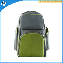Nylon backpack diaper bag padded baby travel bag green