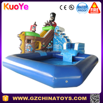 2016 Hot sale pirate ship kids inflatable amusement city park with pool