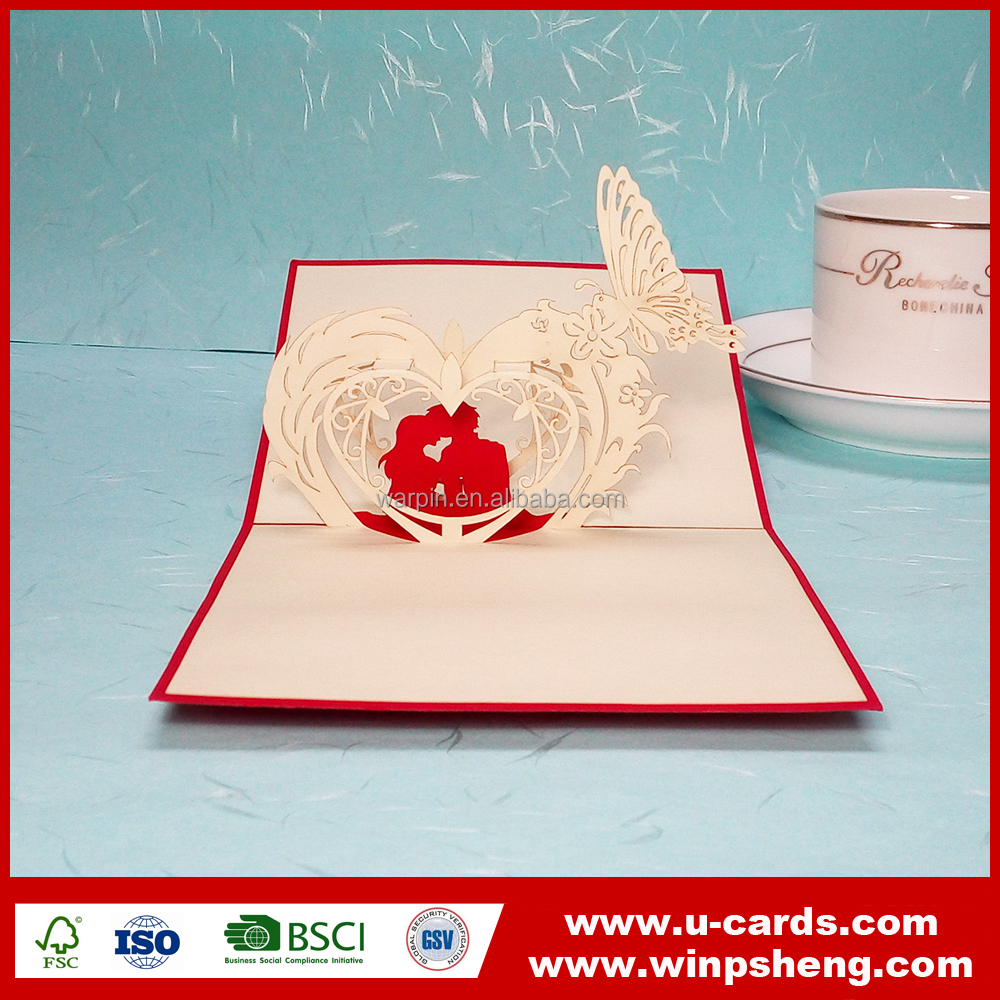2016 newest graceful 3d laser cut heart shape valentine greeting card