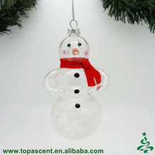 Low price but high qulity equisite glass transpart snowman with scarf ornament for christmas tree decoration