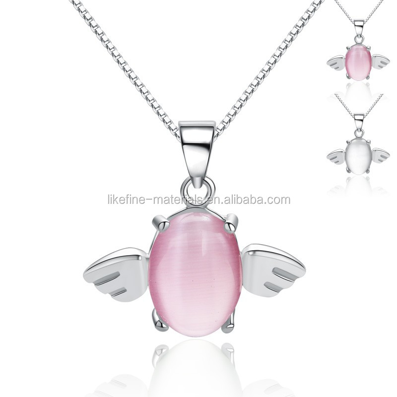 Teenage girls lovely 925 sterling silver artificial jade pendants