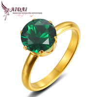 Gold Plated emeralds ring woman for anniversary holiday gift a high-quality stainless steel jewelry ring