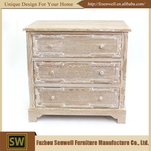 Natural 3 Drawer Chic Rustic Vintage Retro Antique Wood Cabinet