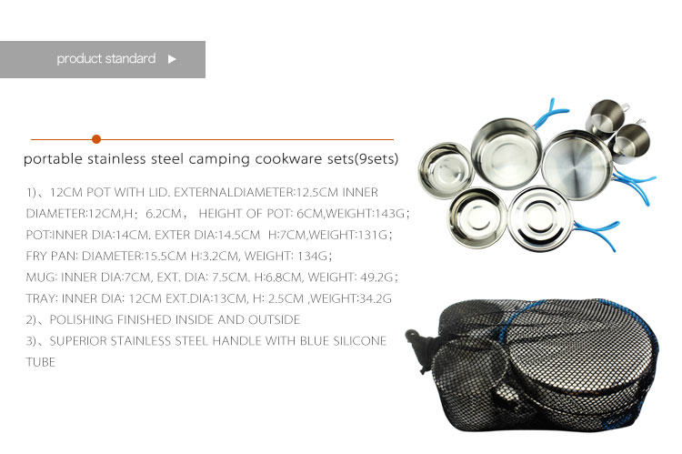 stainless steel cookware set camping pot set stainless steel cooking pots outdoor frying pan camping cup cooker tableware set