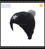 Custom pom pom men winter beanie hat wholesale knit slouchy beanie hat