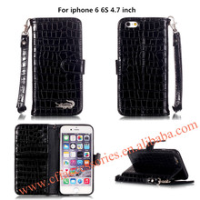 For iPhone 6s 6 plus Coque Crocodile Alligator Leather Wallet Stand Flip Case cover for iphone 5 5s 5se Phone Funda Case