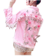 Custom Pom Poms Crystal Stars Sequin Lace Flowers Tassels 100% Cotton Woman Denim Jacket in Pink