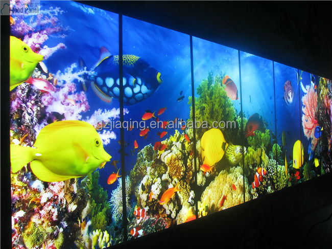2016 ocean park fish art led wall panel light virtual window