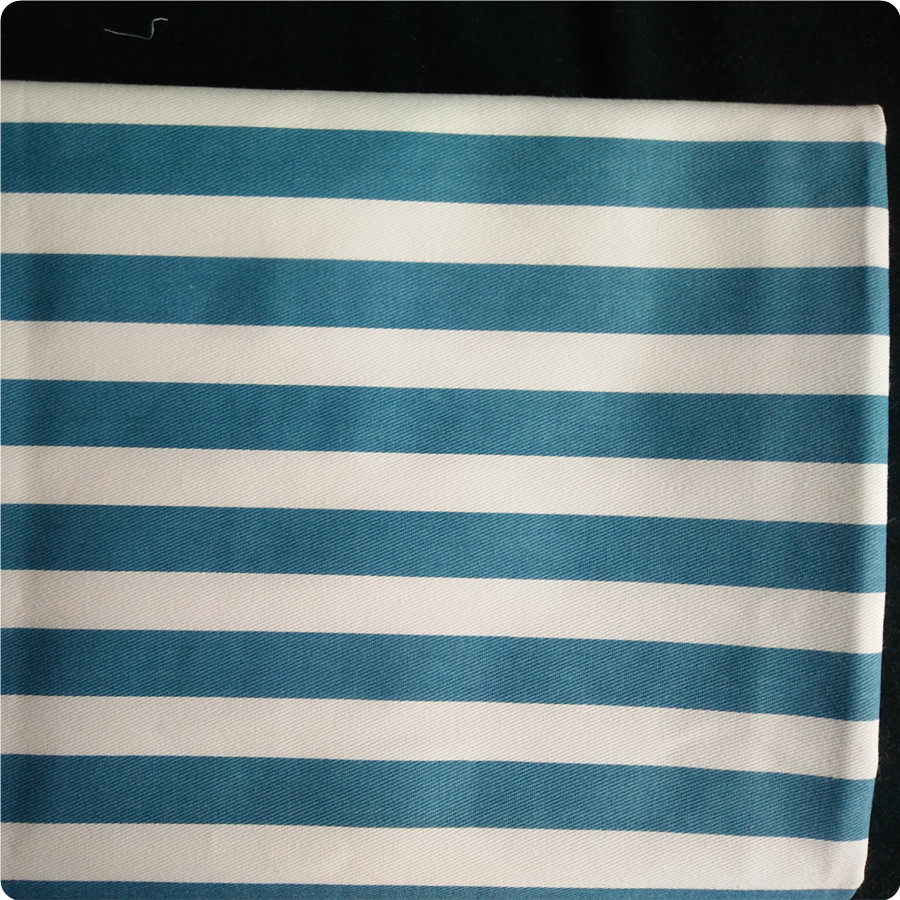 100% cotton printed blue white striped fabric