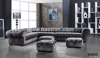 Classic design chesterfield sofa crystal buttons sofa set for home