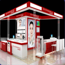 Modern cosmetic display shelf stand design and glass makeup showcase for mall kiosk or retail store furniture