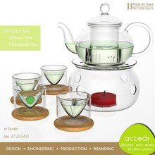 Pyrex Glass Thermal Microwavable Wholesale Fancy Teapot Warmer Set