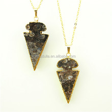 N120 Natural Agate Arrowhead Necklace , Boho Jasper Dagger Spike Pendant Necklace Jewelry