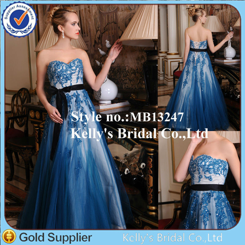 royal sweetheart embroider lace blue and black wedding dress