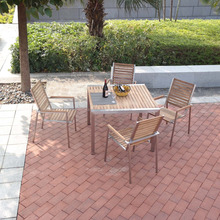 teak table & Dining Extension Table & Stainless steel table SET 900*900*750