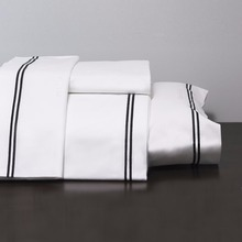 100% cotton hotel bed linen, 400TC cotton embroidery bed sheet set, white embroidery bedding set