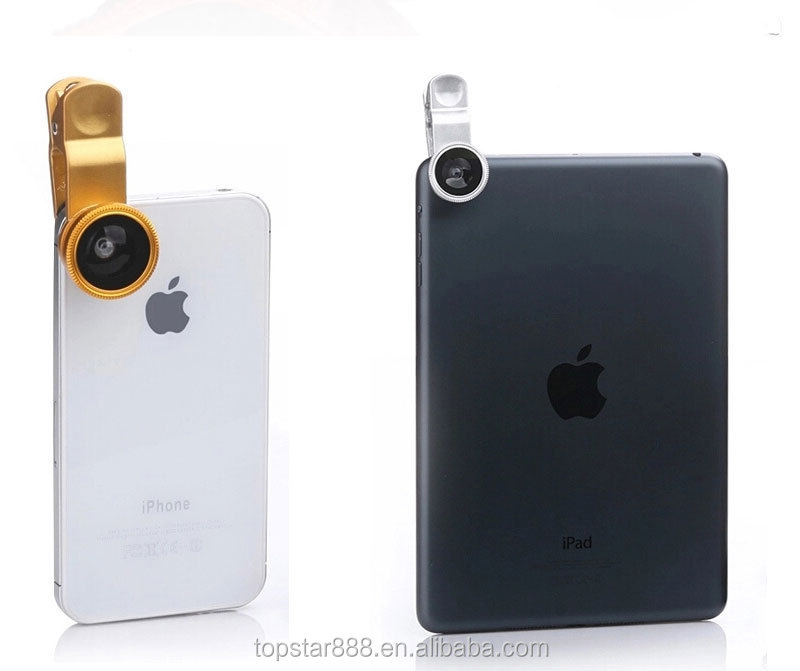 Universal 3 in 1 Fish eye + Wide Angle + Macromobile Phone Camera Lens for IPad,IPhone ,Samsung Smartphone