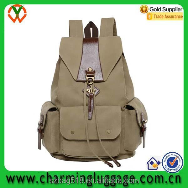 wholesale waterproof tactical hiking canvas school bag backpack