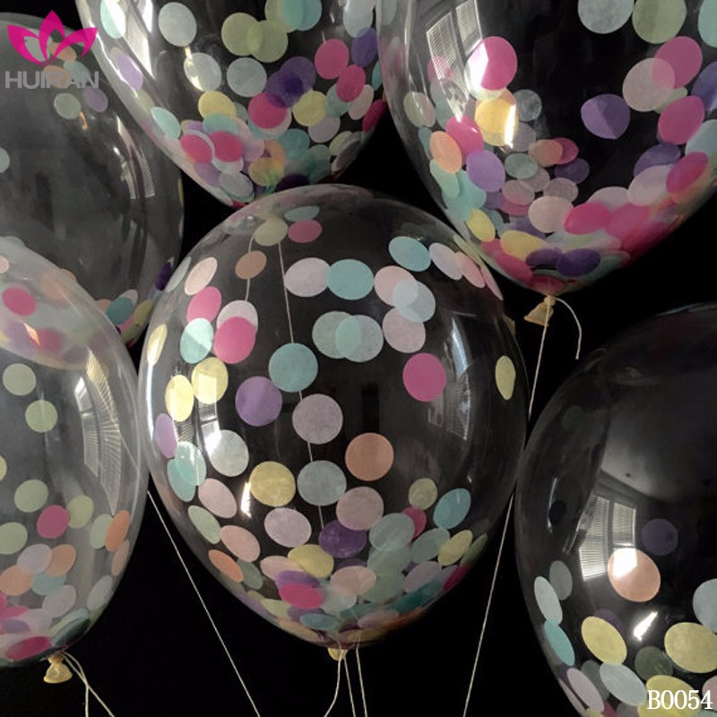 12inch Wedding Decoration Transparent Latex Confetti Balloon
