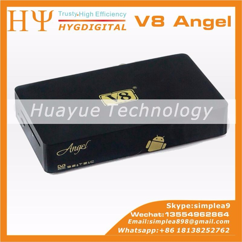 Genuine] 1080P HD FREESAT V8 Angel DVB-S2+T2+Cable+kodi Android 4.4 OS Satellite receiver V8 Angel