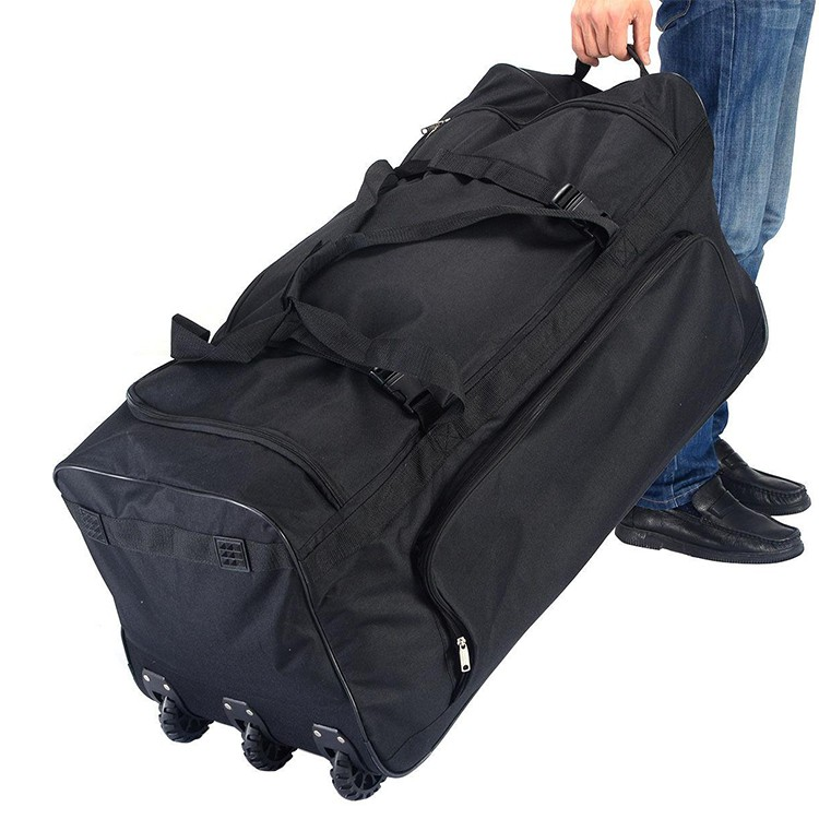 Large capacity polyester rolling wheeled luggage trolley travel bag