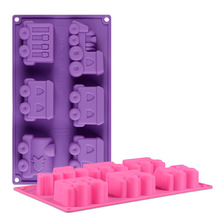 China factory new design 6 cavity car shape silicone ice-making machine mold food grade silicone ice cream tray