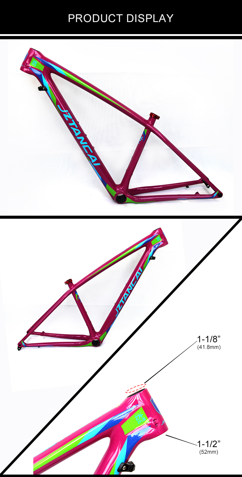 New type Below 68cm mtb suspension frame carbon for male