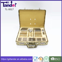 cutlery set stainless steel 72pcs in leather case