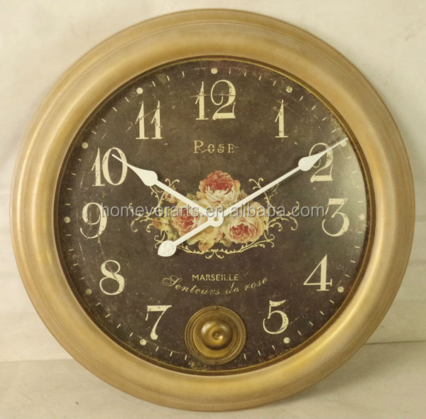 Vintage country style wall clock with pendulum