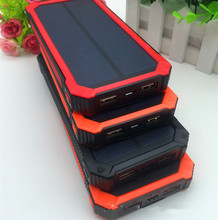 High quality promotion fation SOS function red solar power bank with dark strong light