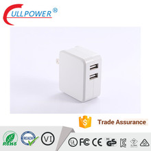 Fold plug charger 2 port usb wall charger 5V4.8A smart IC traval USB wall mount fold charger