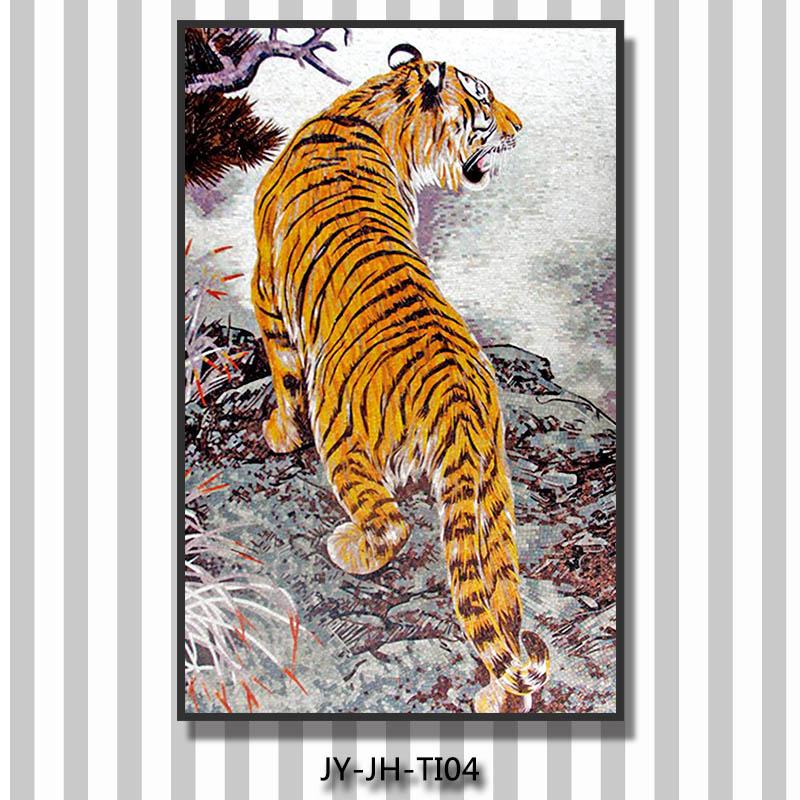 Jy jh ti04 tiger bild wandmalerei glas fliesen mosaik for Mosaik aufkleber