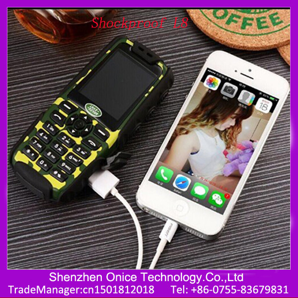 rugged mobile phone L8 GSM 850/900/1800/1900Mhz with power bank function best rugged mobile phone india