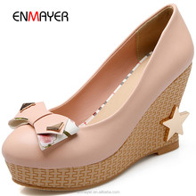 Sweet colorful spring wedge heel star link wholesale korean girls shoes