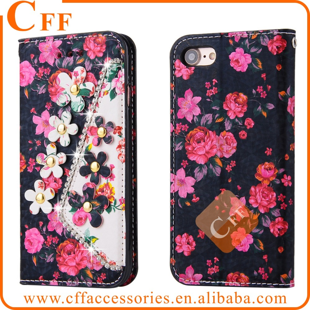 "For iPhone 5 5S 5G 4"" Floral Pattern Flip Leather Case 3D Diamonds Pearls Flowers Woman Wallet bag with Credit Card Slot"