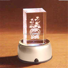 Custom logo 3d laser engraved blank crystal glass block cube weth Led light base for gift items