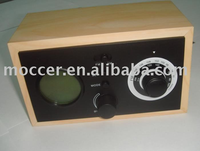 Wooden clock am fm radio Speaker