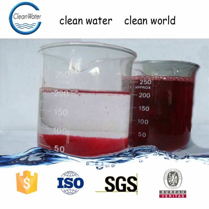 Flocculant water decoloring agent for fabric water treatment with PAC PAM