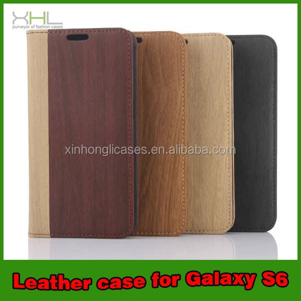 New Design Woods Pattern PU Leather Flip Phone Case For Samsung Galaxy S6, Wood Case For Samsung Phones