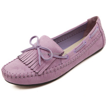 2017 lady driving shoes New style purple suede leather Chic Design Women's Flat Casual Shoes