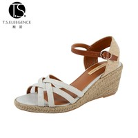 New Fashion Fancy Latest Design Model Summer Canvas Strap High Heel Woman Wedge Sandals Shoes for Ladies